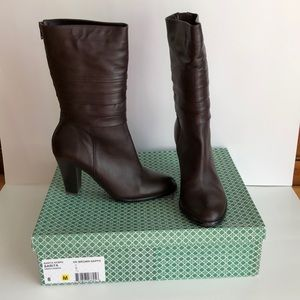 J. Renee Mid-height Brown Leather Boots